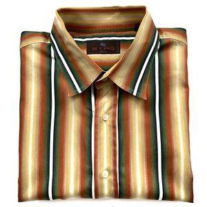 ETRO Milano Dress Shirt Size 46 Striped Multicolor